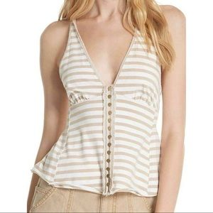 Free People Mylo Striped Button Down Halter Top